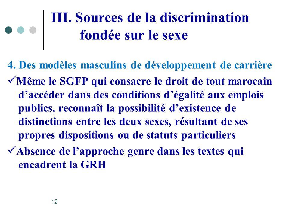 III. Sources de la discrimination fondée sur le sexe 4. Des modèles masculins de développement de carrière Même le SGFP qui consacre le droit de tout