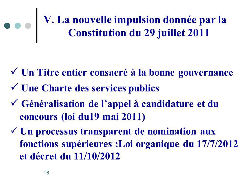 V. La nouvelle impulsion donnée par la Constitution du 29 juillet 2011 Un Titre entier consacré à la bonne gouvernance Une Charte des services publics
