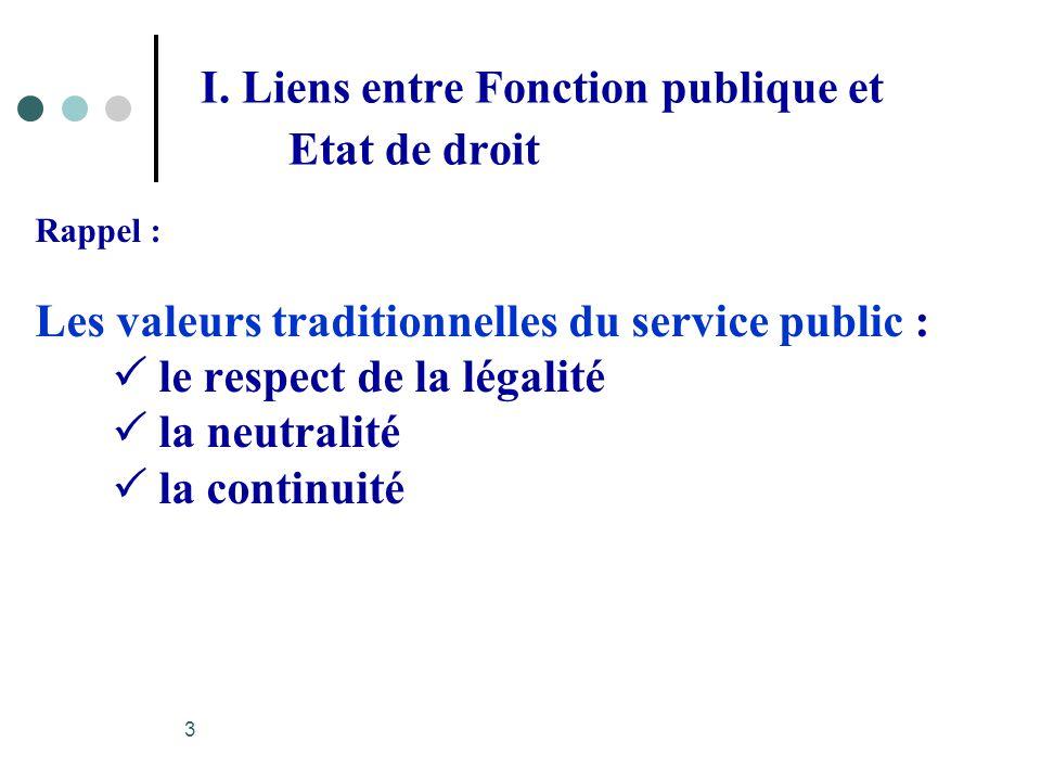 I. Liens entre Fonction publique et Etat de droit Rappel : Les valeurs traditionnelles du service public : le respect de la légalité la neutralité la
