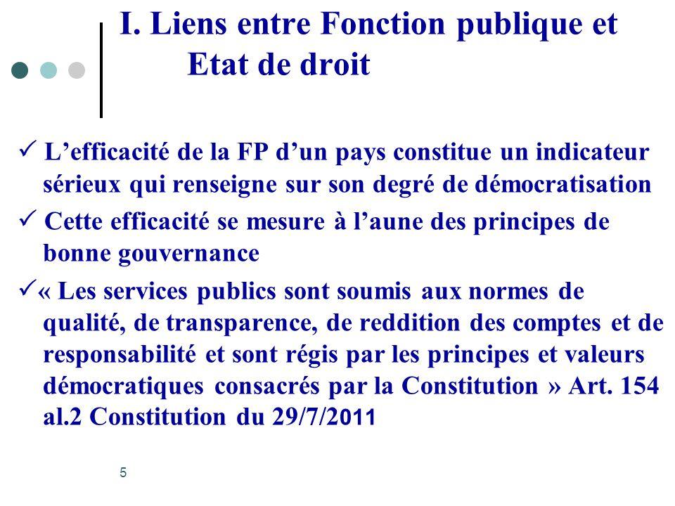 I. Liens entre Fonction publique et Etat de droit Lefficacité de la FP dun pays constitue un indicateur sérieux qui renseigne sur son degré de démocra