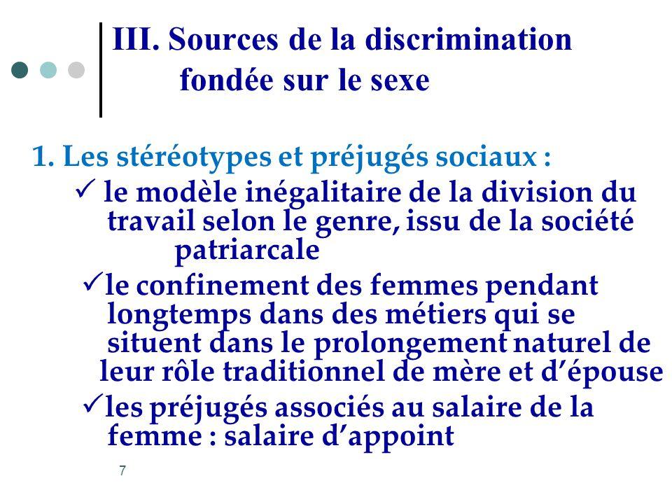 III. Sources de la discrimination fondée sur le sexe 1. Les stéréotypes et préjugés sociaux : le modèle inégalitaire de la division du travail selon l