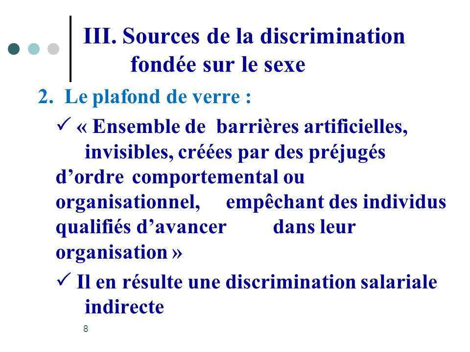 III. Sources de la discrimination fondée sur le sexe 2. Le plafond de verre : « Ensemble de barrières artificielles, invisibles, créées par des préjug