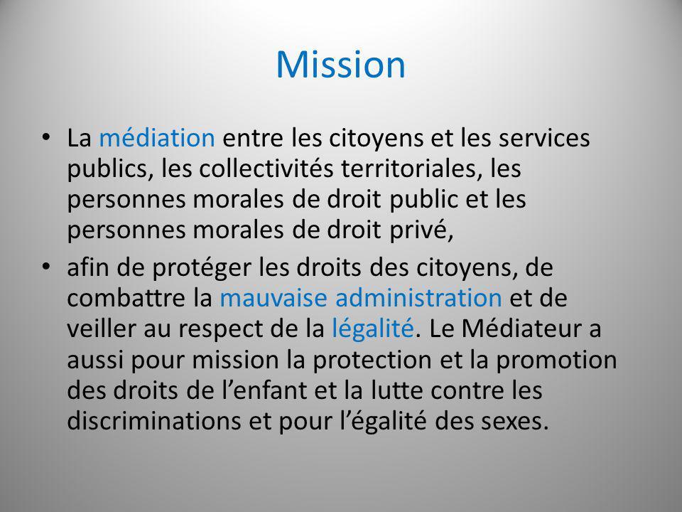 Mission La médiation entre les citoyens et les services publics, les collectivités territoriales, les personnes morales de droit public et les personn