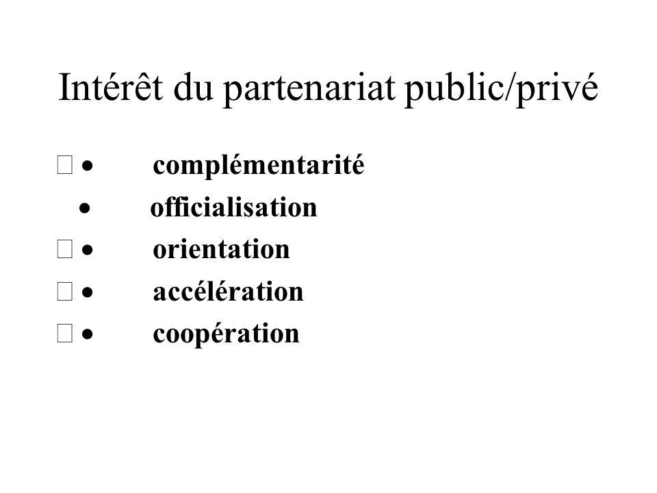 Intérêt du partenariat public/privé complémentarité officialisation orientation accélération coopération
