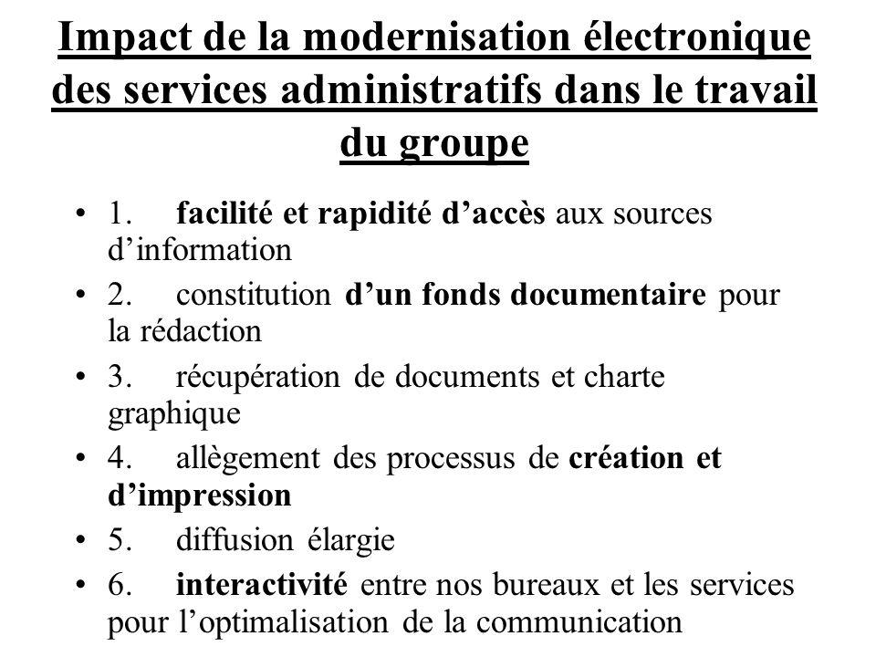 Impact de la modernisation électronique des services administratifs dans le travail du groupe 1.