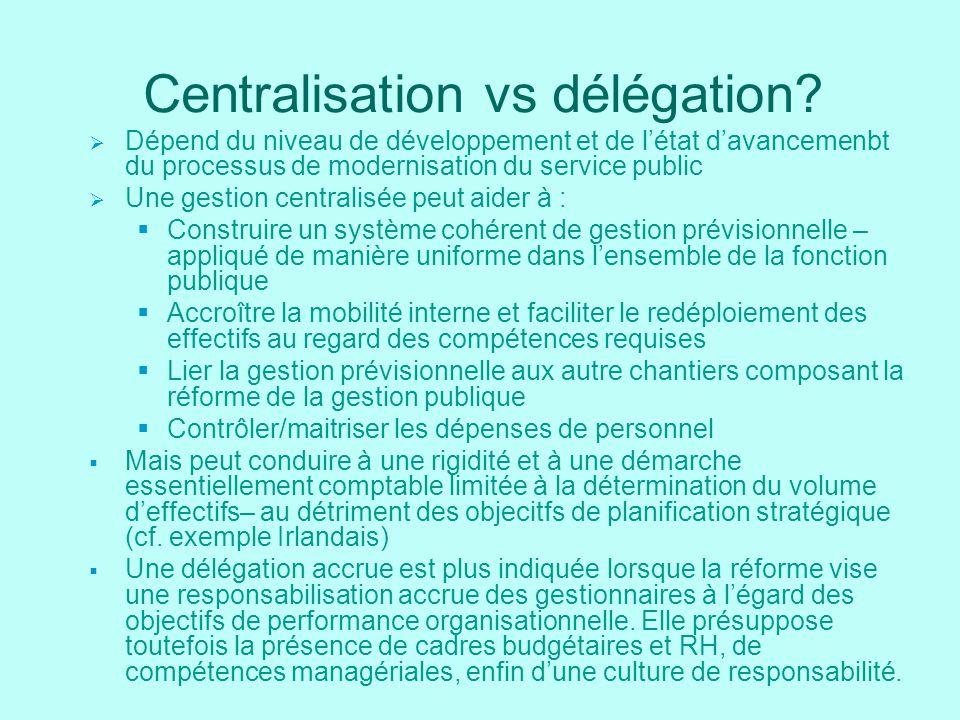 Centralisation vs délégation? Dépend du niveau de développement et de létat davancemenbt du processus de modernisation du service public Une gestion c