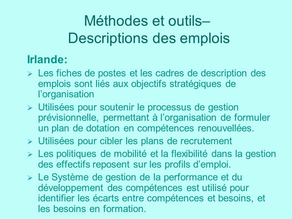 Méthodes et outils– Descriptions des emplois Irlande: Les fiches de postes et les cadres de description des emplois sont liés aux objectifs stratégiqu