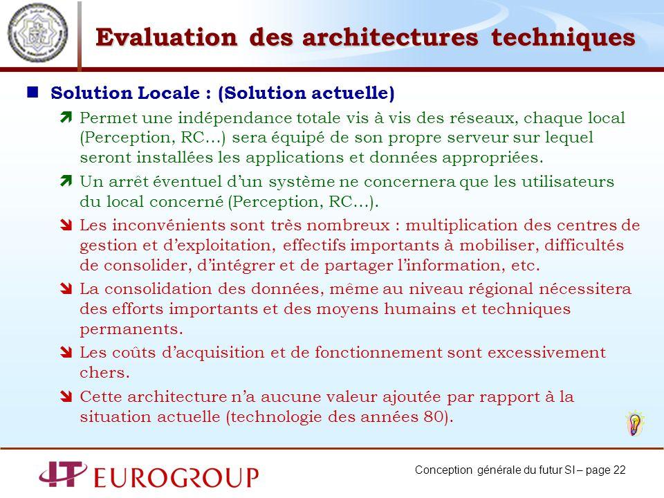 Conception générale du futur SI – page 22 Evaluation des architectures techniques Solution Locale : (Solution actuelle) Permet une indépendance totale