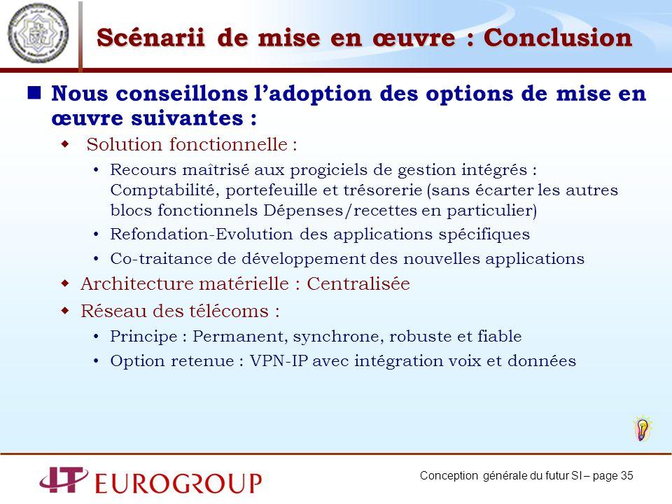 Conception générale du futur SI – page 35 Scénarii de mise en œuvre : Conclusion Nous conseillons ladoption des options de mise en œuvre suivantes : S