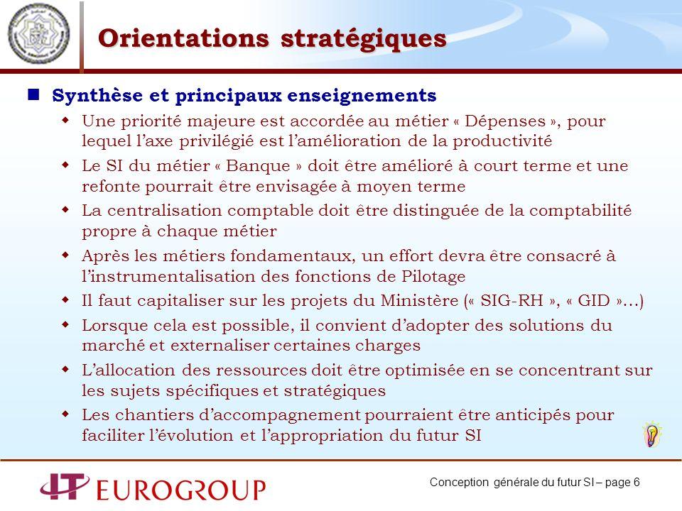 Conception générale du futur SI – page 6 Orientations stratégiques Synthèse et principaux enseignements Une priorité majeure est accordée au métier «