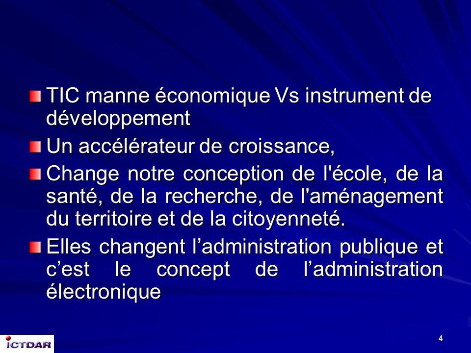 4 TIC manne économique Vs instrument de développement Un accélérateur de croissance, Change notre conception de l école, de la santé, de la recherche, de l aménagement du territoire et de la citoyenneté.