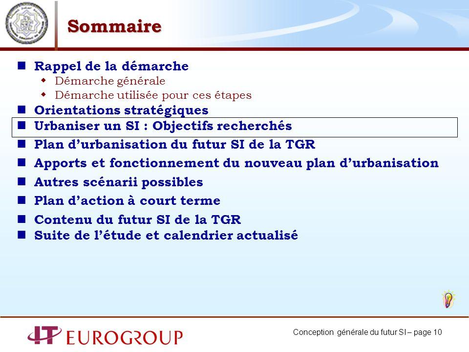 Conception générale du futur SI – page 10 Sommaire Rappel de la démarche Démarche générale Démarche utilisée pour ces étapes Orientations stratégiques