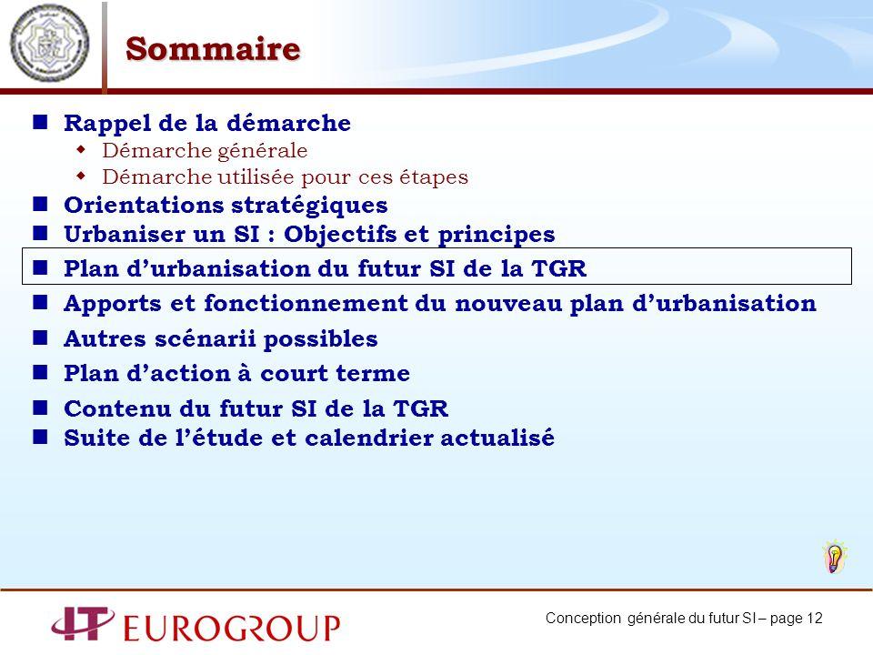 Conception générale du futur SI – page 12 Sommaire Rappel de la démarche Démarche générale Démarche utilisée pour ces étapes Orientations stratégiques