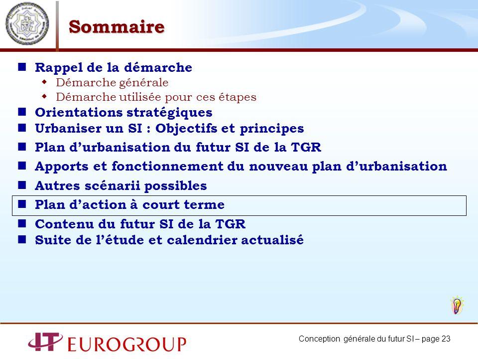 Conception générale du futur SI – page 23 Sommaire Rappel de la démarche Démarche générale Démarche utilisée pour ces étapes Orientations stratégiques