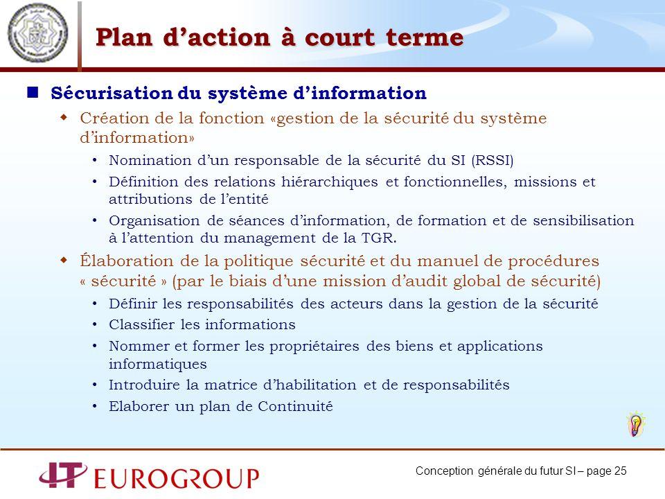 Conception générale du futur SI – page 25 Plan daction à court terme Sécurisation du système dinformation Création de la fonction «gestion de la sécur