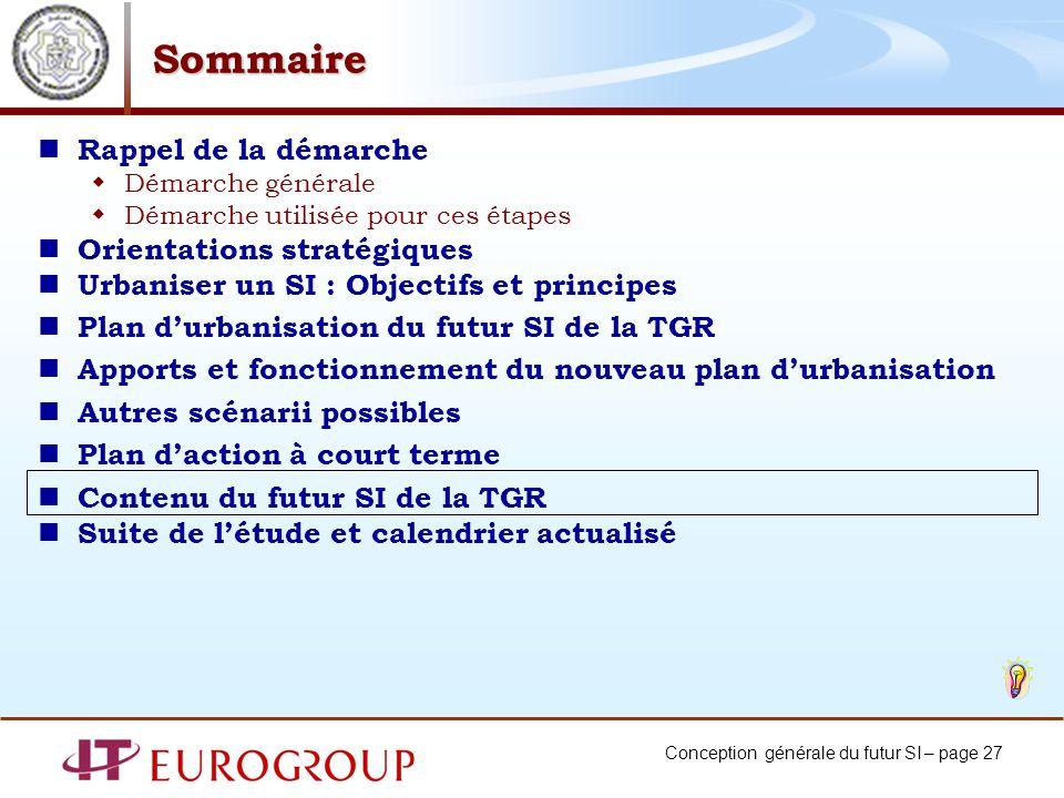 Conception générale du futur SI – page 27 Sommaire Rappel de la démarche Démarche générale Démarche utilisée pour ces étapes Orientations stratégiques
