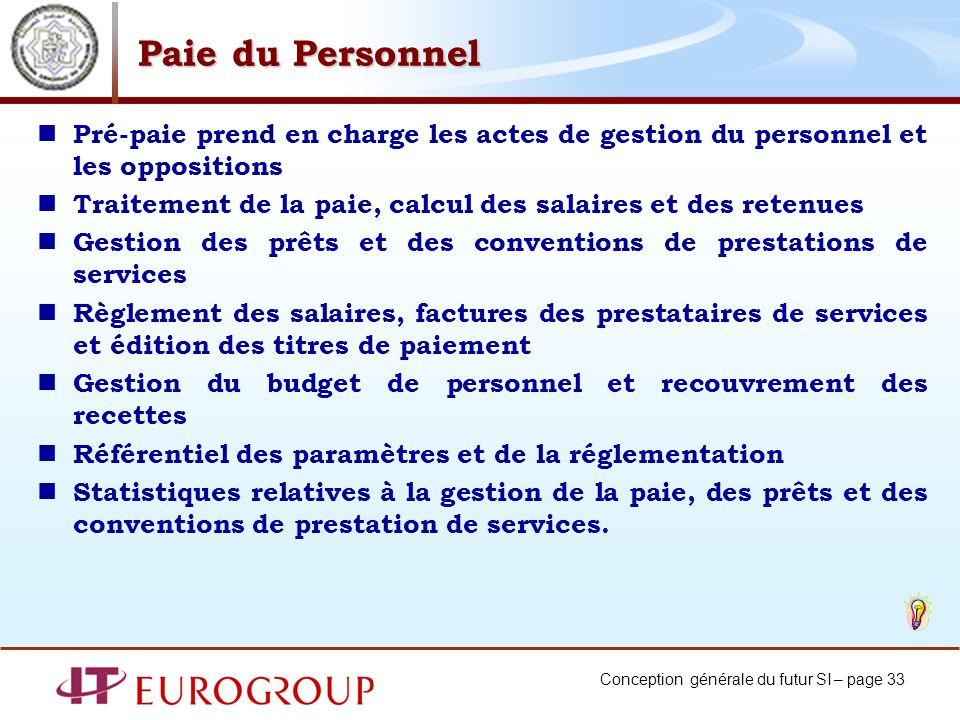 Conception générale du futur SI – page 33 Paie du Personnel Pré-paie prend en charge les actes de gestion du personnel et les oppositions Traitement d