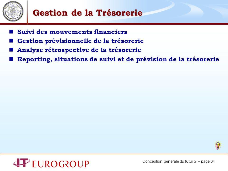 Conception générale du futur SI – page 34 Gestion de la Trésorerie Suivi des mouvements financiers Gestion prévisionnelle de la trésorerie Analyse rét