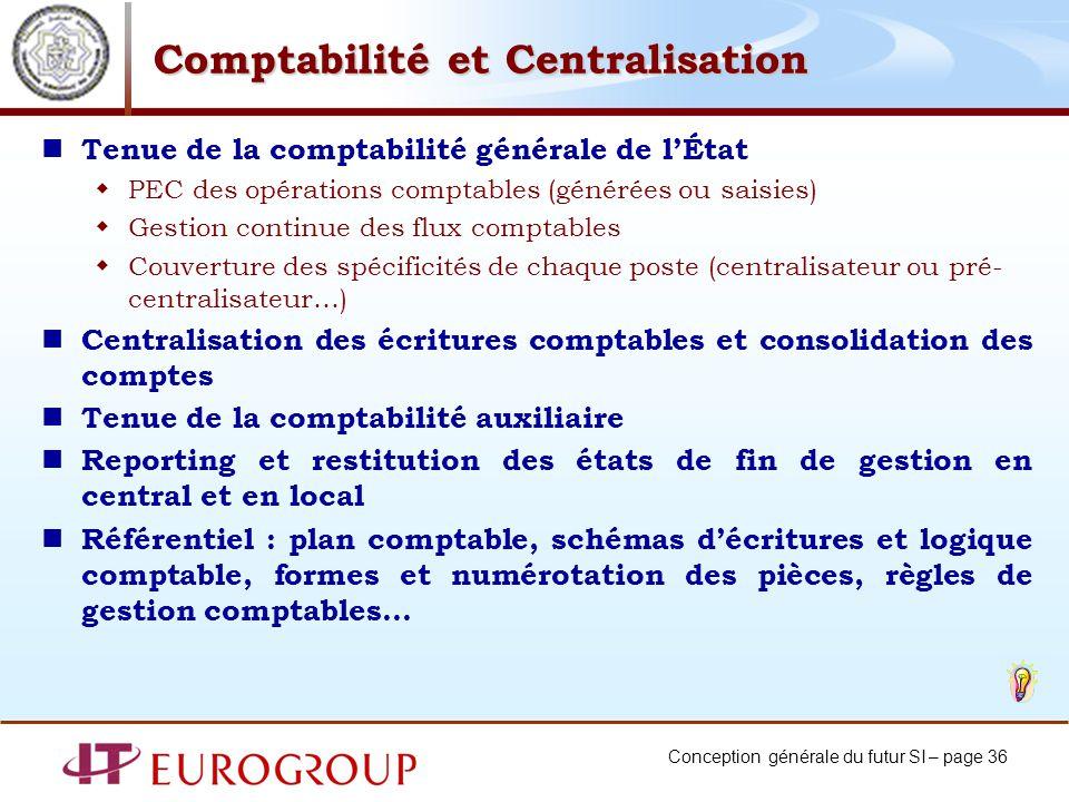 Conception générale du futur SI – page 36 Comptabilité et Centralisation Tenue de la comptabilité générale de lÉtat PEC des opérations comptables (gén