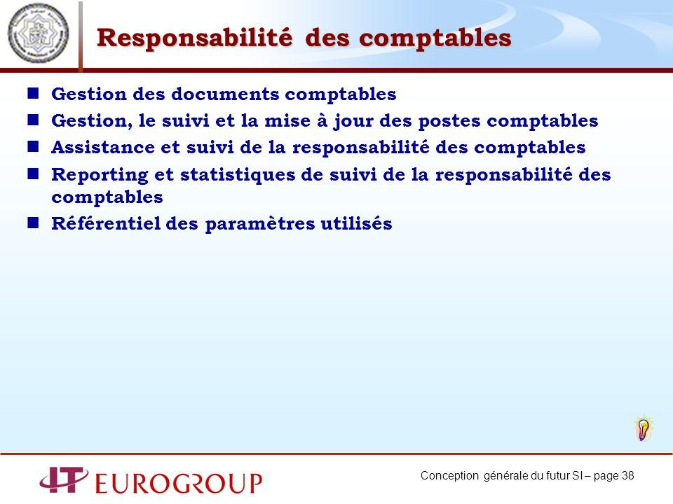 Conception générale du futur SI – page 38 Responsabilité des comptables Gestion des documents comptables Gestion, le suivi et la mise à jour des poste
