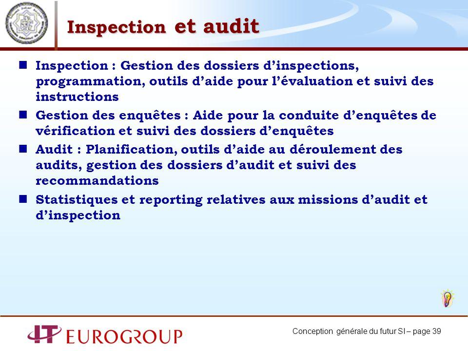 Conception générale du futur SI – page 39 Inspection et audit Inspection : Gestion des dossiers dinspections, programmation, outils daide pour lévalua