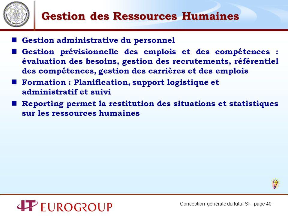 Conception générale du futur SI – page 40 Gestion des Ressources Humaines Gestion administrative du personnel Gestion prévisionnelle des emplois et de