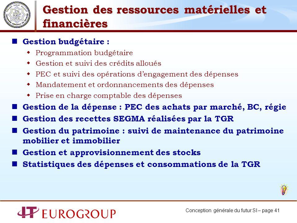 Conception générale du futur SI – page 41 Gestion des ressources matérielles et financières Gestion budgétaire : Programmation budgétaire Gestion et s