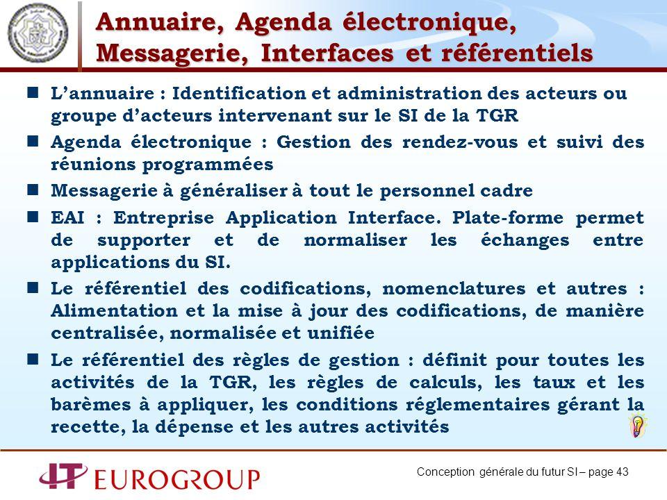 Conception générale du futur SI – page 43 Annuaire, Agenda électronique, Messagerie, Interfaces et référentiels Lannuaire : Identification et administ