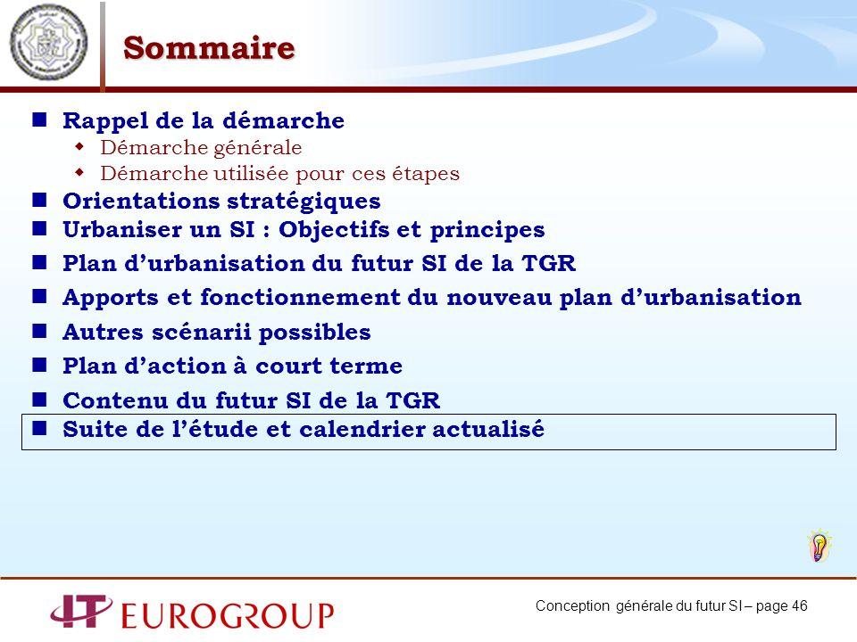 Conception générale du futur SI – page 46 Sommaire Rappel de la démarche Démarche générale Démarche utilisée pour ces étapes Orientations stratégiques