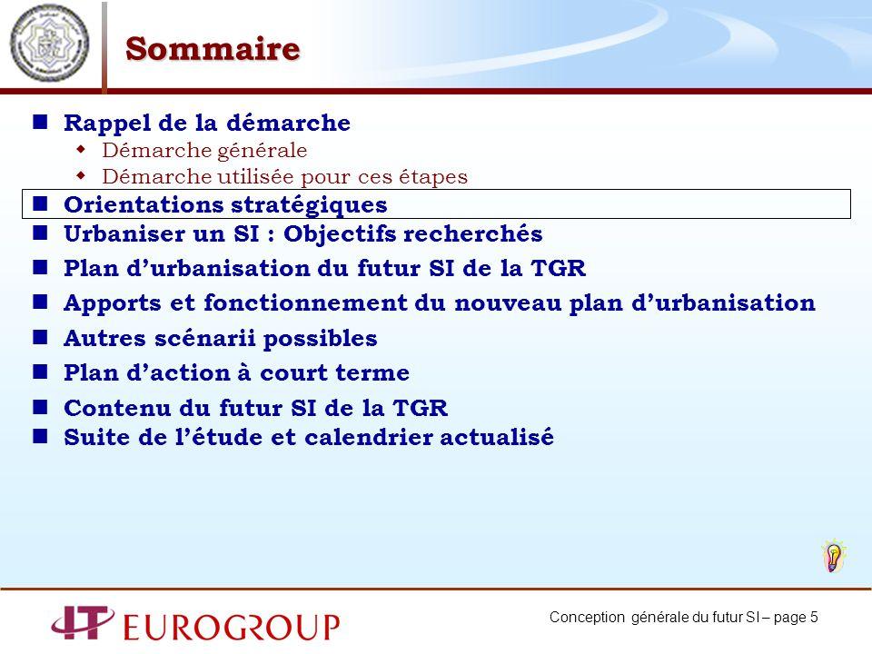 Conception générale du futur SI – page 5 Sommaire Rappel de la démarche Démarche générale Démarche utilisée pour ces étapes Orientations stratégiques