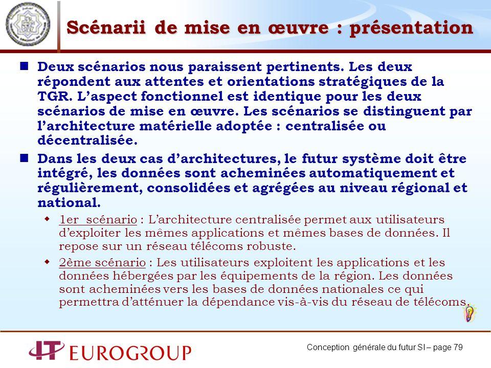 Conception générale du futur SI – page 79 Scénarii de mise en œuvre : présentation Deux scénarios nous paraissent pertinents.