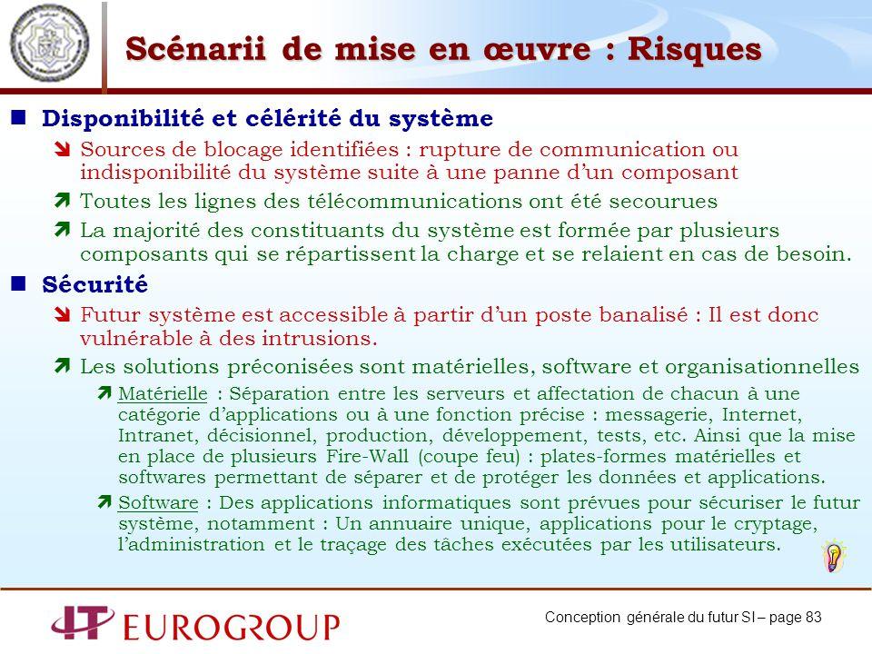Conception générale du futur SI – page 83 Scénarii de mise en œuvre : Risques Disponibilité et célérité du système Sources de blocage identifiées : ru