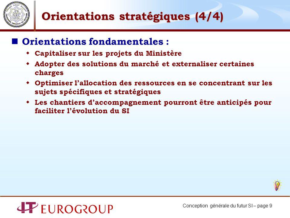 Conception générale du futur SI – page 9 Orientations stratégiques (4/4) Orientations fondamentales : Capitaliser sur les projets du Ministère Adopter