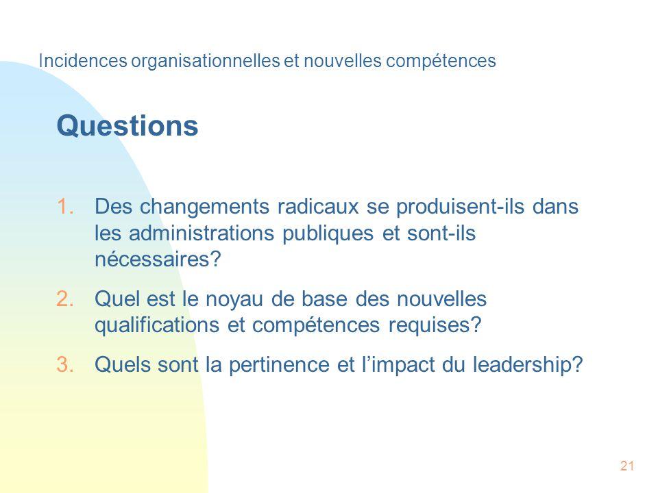21 Questions 1.Des changements radicaux se produisent-ils dans les administrations publiques et sont-ils nécessaires.