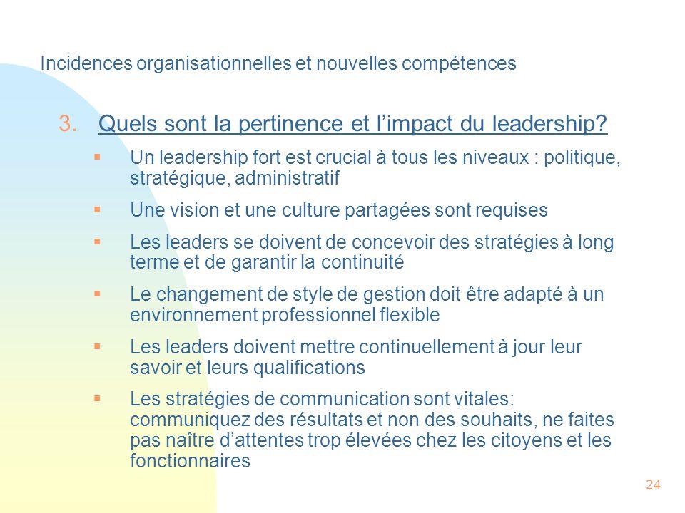 24 3.Quels sont la pertinence et limpact du leadership.