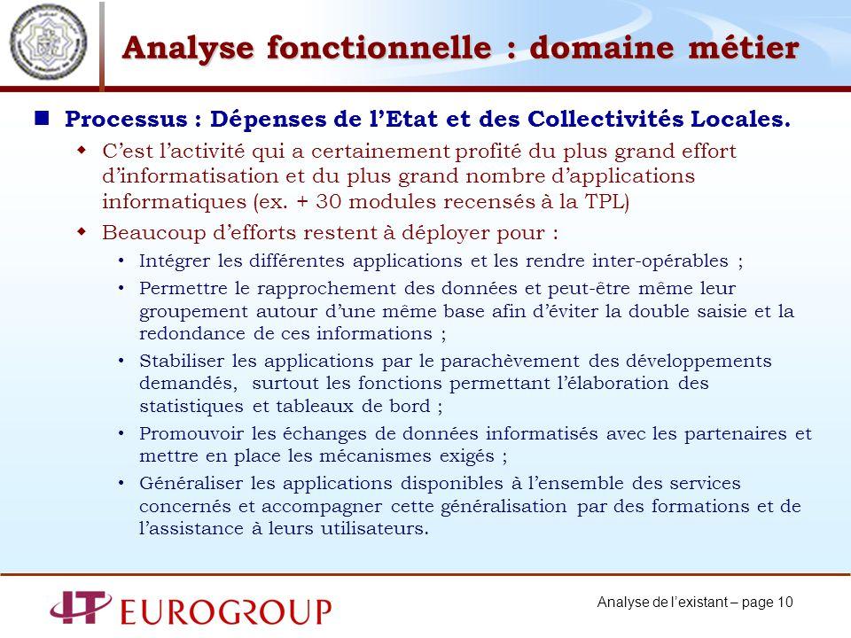 Analyse de lexistant – page 10 Analyse fonctionnelle : domaine métier Processus : Dépenses de lEtat et des Collectivités Locales.