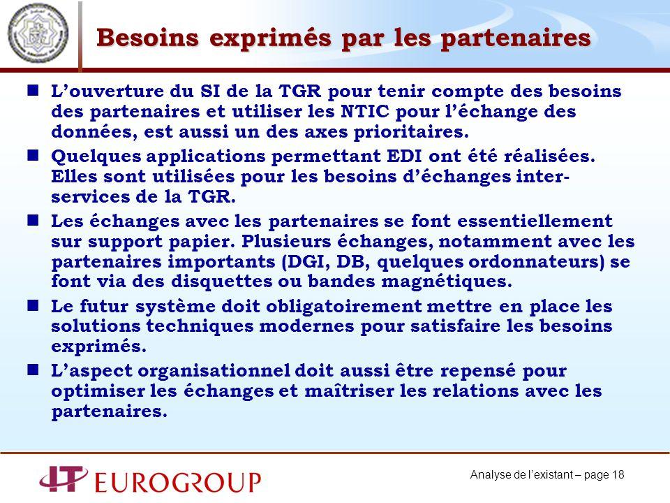 Analyse de lexistant – page 18 Besoins exprimés par les partenaires Louverture du SI de la TGR pour tenir compte des besoins des partenaires et utiliser les NTIC pour léchange des données, est aussi un des axes prioritaires.