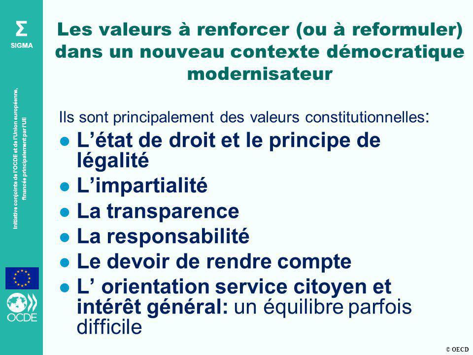 © OECD Σ SIGMA Initiative conjointe de lOCDE et de lUnion européenne, financée principalement par lUE Les valeurs à renforcer (ou à reformuler) dans u