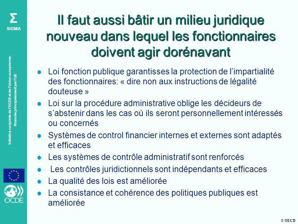 © OECD Σ SIGMA Initiative conjointe de lOCDE et de lUnion européenne, financée principalement par lUE Il faut aussi bâtir un milieu juridique nouveau