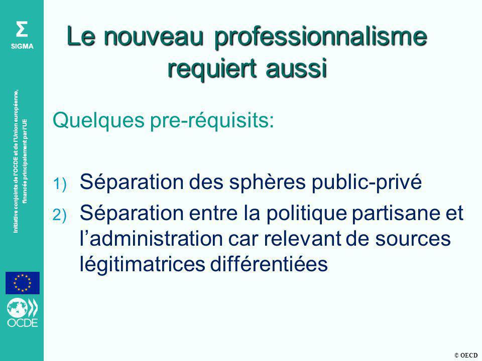 © OECD Σ SIGMA Initiative conjointe de lOCDE et de lUnion européenne, financée principalement par lUE Le nouveau professionnalisme requiert aussi Quel