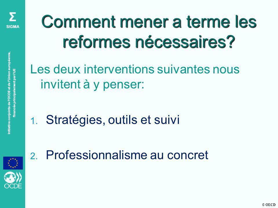 © OECD Σ SIGMA Initiative conjointe de lOCDE et de lUnion européenne, financée principalement par lUE Comment mener a terme les reformes nécessaires.