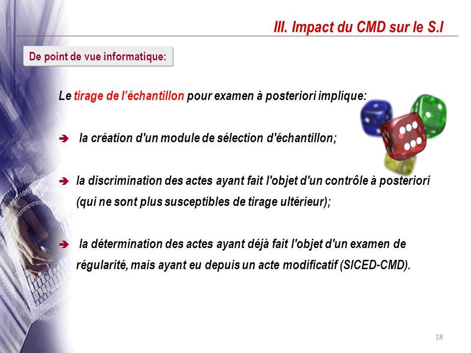 18 III. Impact du CMD sur le S.I Le tirage de léchantillon pour examen à posteriori implique: la création d'un module de sélection d'échantillon; la d