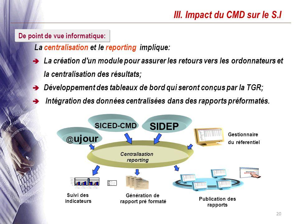 20 III. Impact du CMD sur le S.I La centralisation et le reporting implique: La création d'un module pour assurer les retours vers les ordonnateurs et