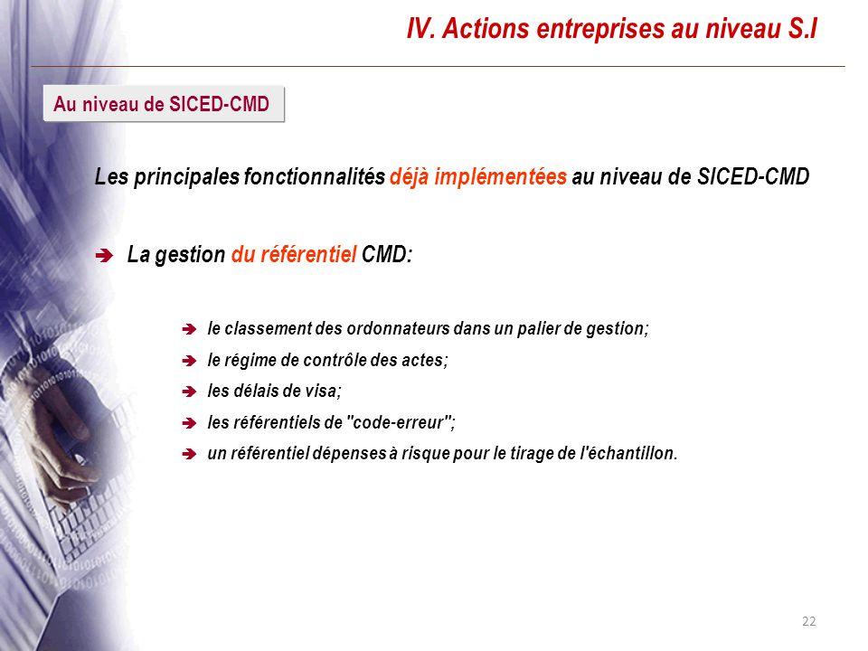 22 IV. Actions entreprises au niveau S.I Les principales fonctionnalités déjà implémentées au niveau de SICED-CMD La gestion du référentiel CMD: le cl