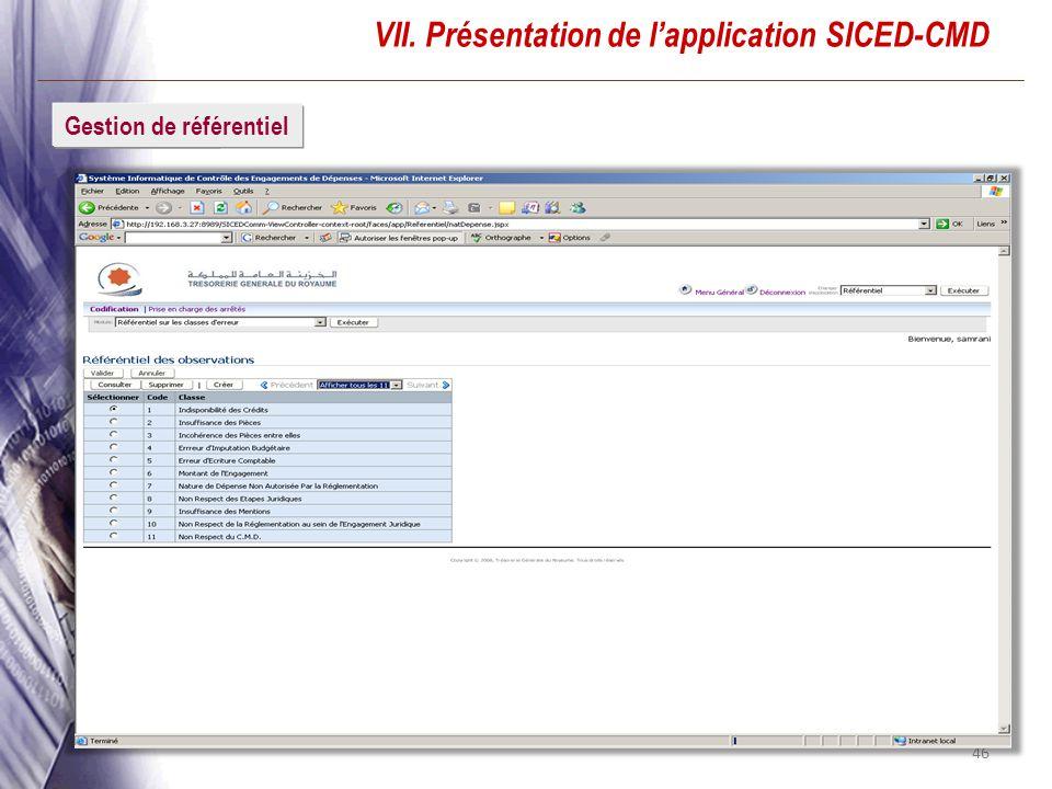 46 VII. Présentation de lapplication SICED-CMD ConnexionGestion de référentiel