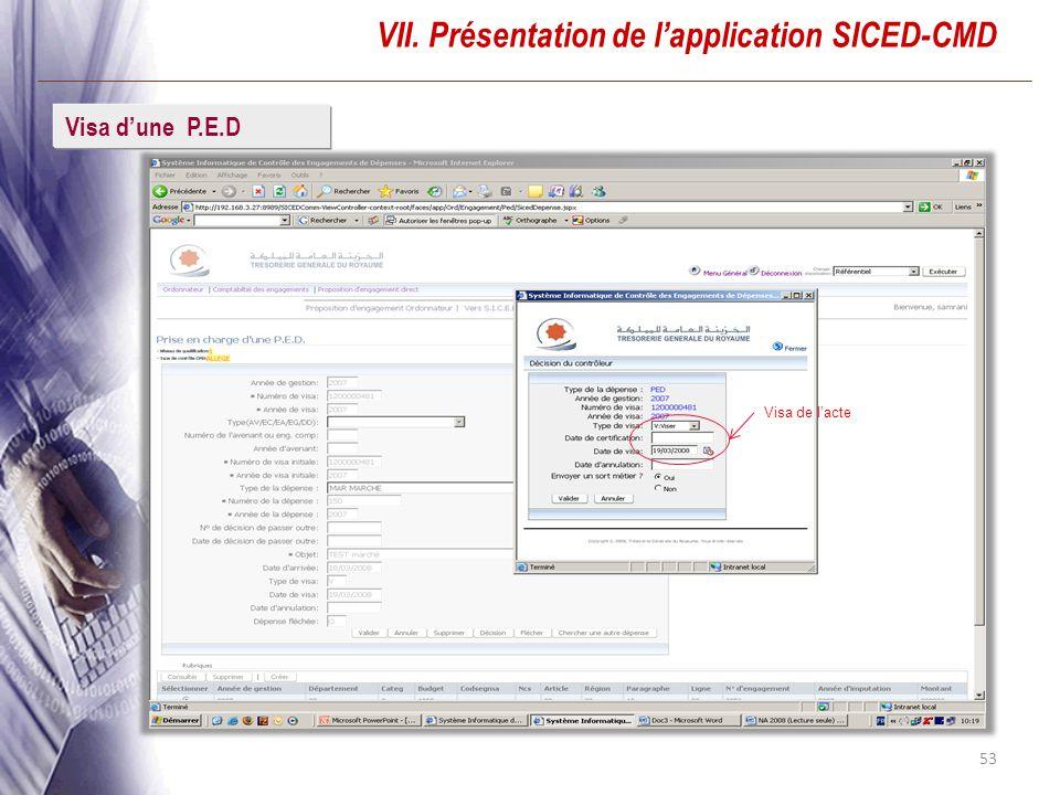 53 VII. Présentation de lapplication SICED-CMD Visa dune P.E.D Visa de lacte