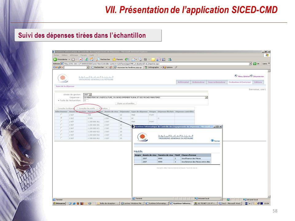 58 VII. Présentation de lapplication SICED-CMD Suivi des dépenses tirées dans léchantillon