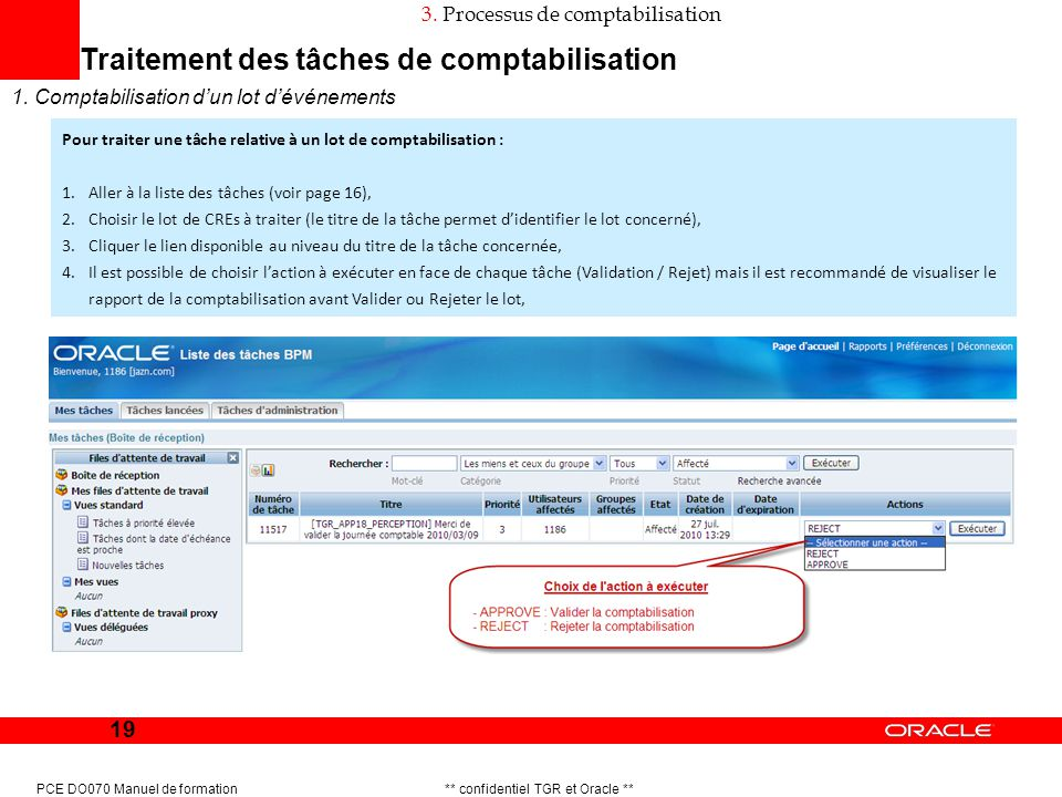 19 PCE DO070 Manuel de formation ** confidentiel TGR et Oracle ** Traitement des tâches de comptabilisation 1. Comptabilisation dun lot dévénements 3.