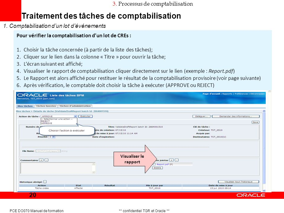 20 PCE DO070 Manuel de formation ** confidentiel TGR et Oracle ** Traitement des tâches de comptabilisation 1. Comptabilisation dun lot dévénements 3.