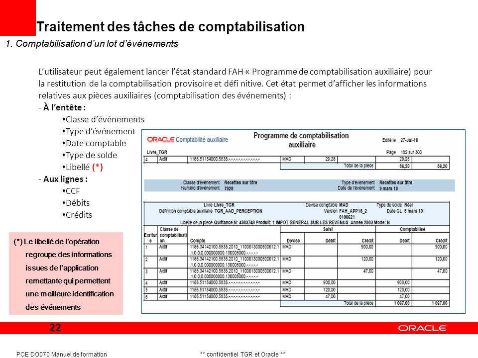 22 PCE DO070 Manuel de formation ** confidentiel TGR et Oracle ** 1. Comptabilisation dun lot dévénements Traitement des tâches de comptabilisation 1.